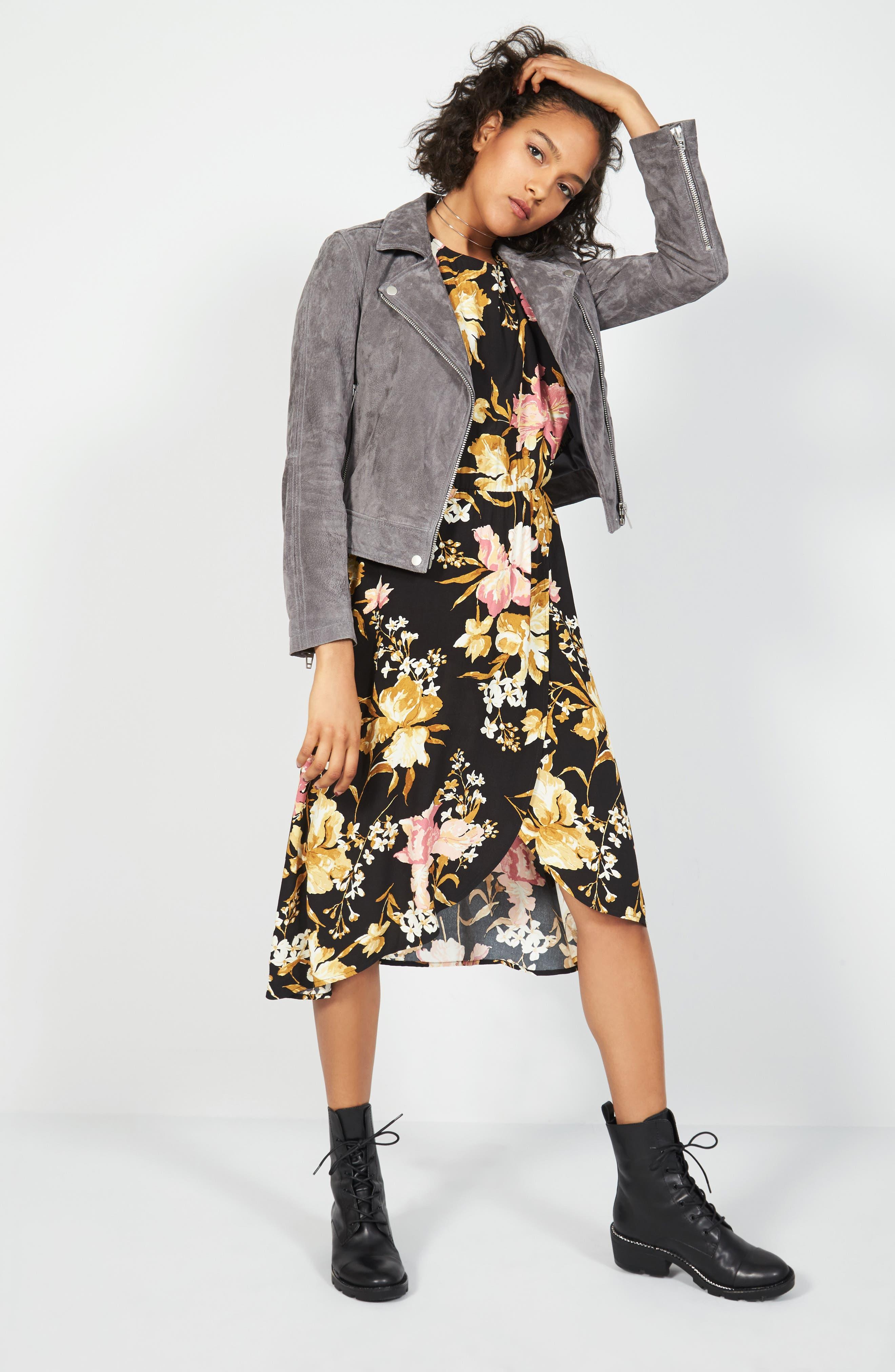 ,                             Cold Shoulder Midi Dress,                             Alternate thumbnail 7, color,                             001
