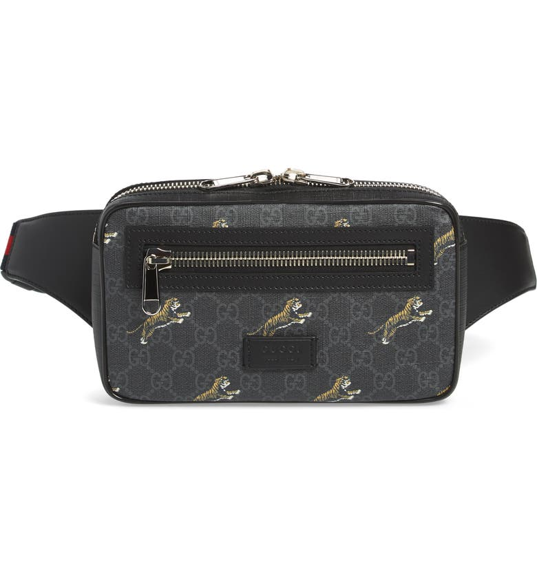 GUCCI Tiger GG Canvas Belt Bag, Main, color, BLACK/NERO/BRB