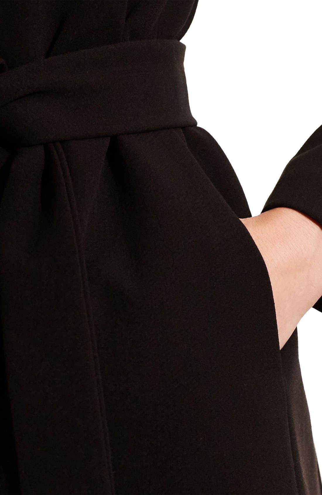 ,                             Belted Drape Front Coat,                             Alternate thumbnail 9, color,                             001