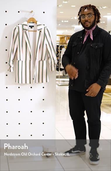 Stripe Ruched Sleeve Cotton Blend Blazer, sales video thumbnail