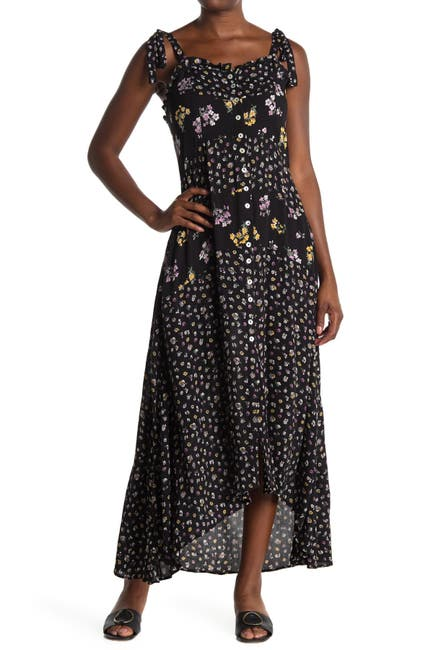 Image of Angie Floral Tie Strap Button Front High/Low Maxi Dress