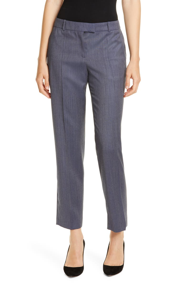 BOSS Tocanes Blurred Minidessin Wool Ankle Trousers