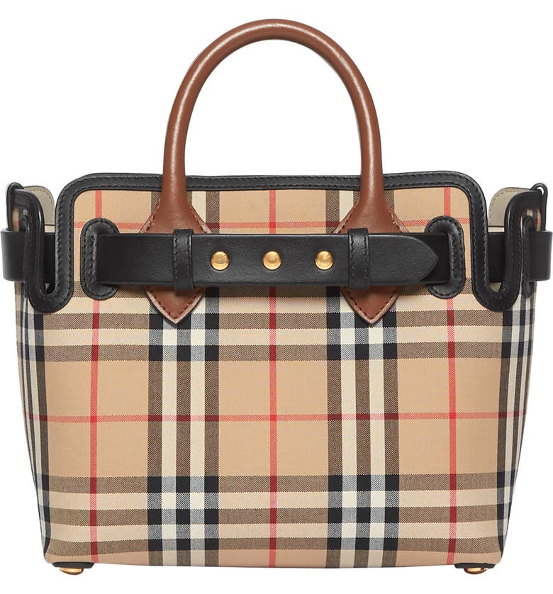 BURBERRY Mini Belt Vintage Check Triple Stud Leather Tote, Main, color, ARCHIVE BEIGE