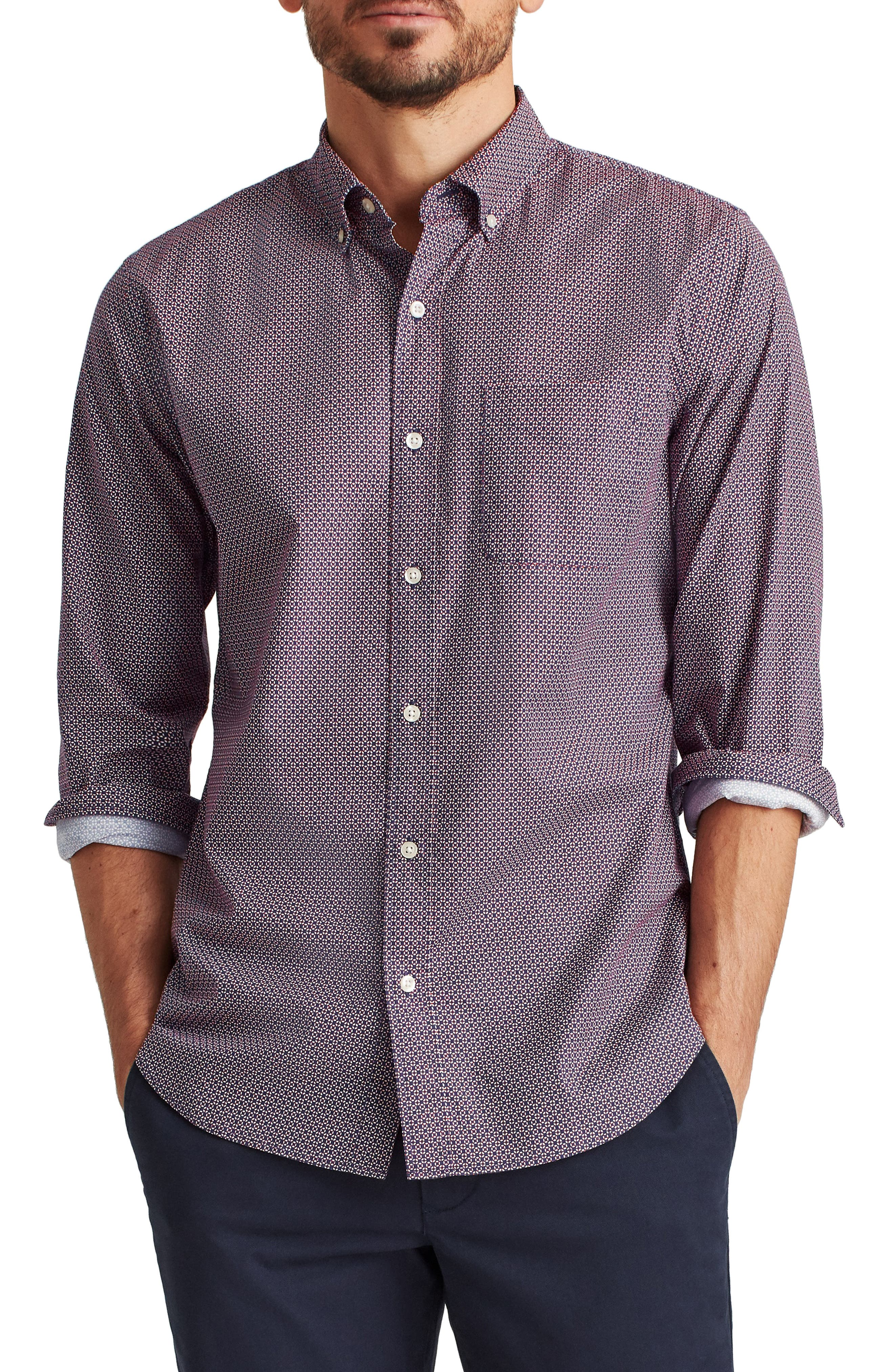 Slim Fit Washed Stretch Cotton Button-Down Shirt