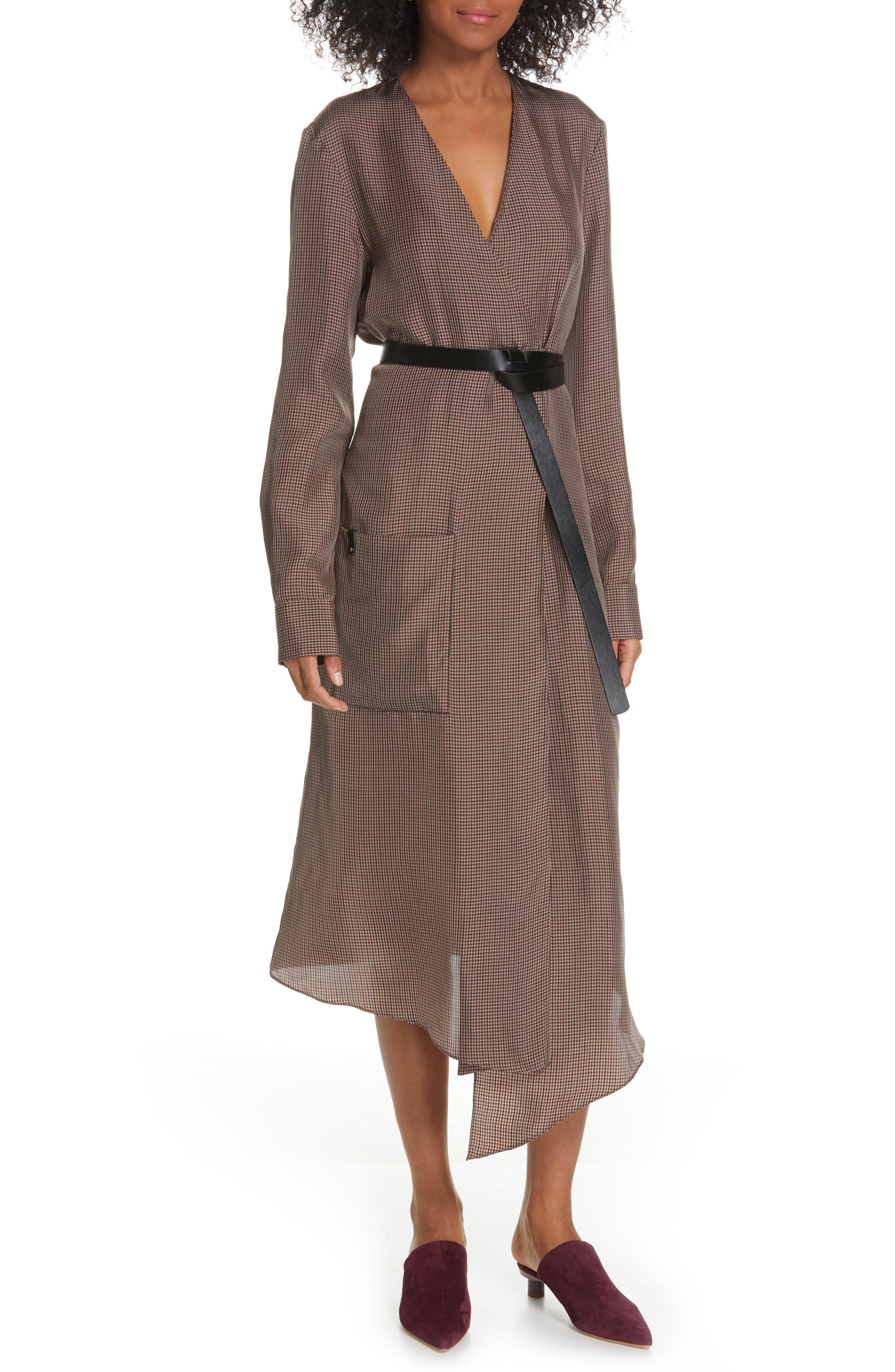 Tibi Walden Long Sleeve Faux Wrap Midi Dress, Brown