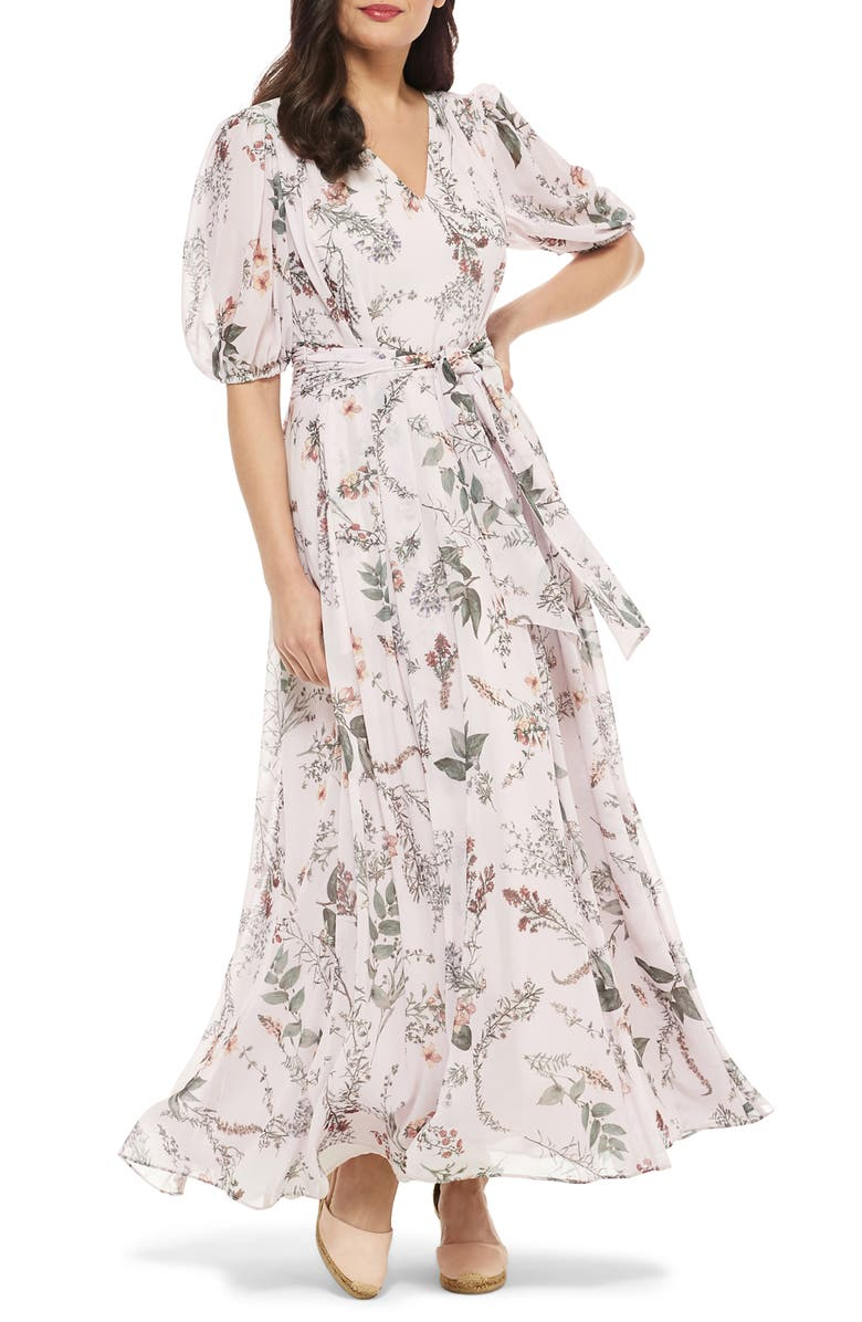 GAL MEETS GLAM COLLECTION Phoebe Floral Puff Sleeve Chiffon Maxi Dress, Main, color, BLUSH