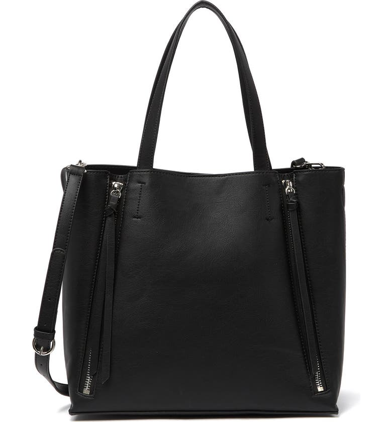 MELROSE AND MARKET Leigh Convertible Zipper Tote, Main, color, BLACK