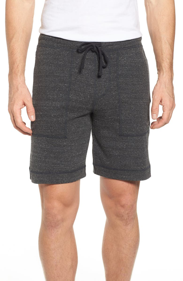 ALO Revival Relaxed Knit Shorts, Main, color, CHARCOAL BLACK TRIBLEND