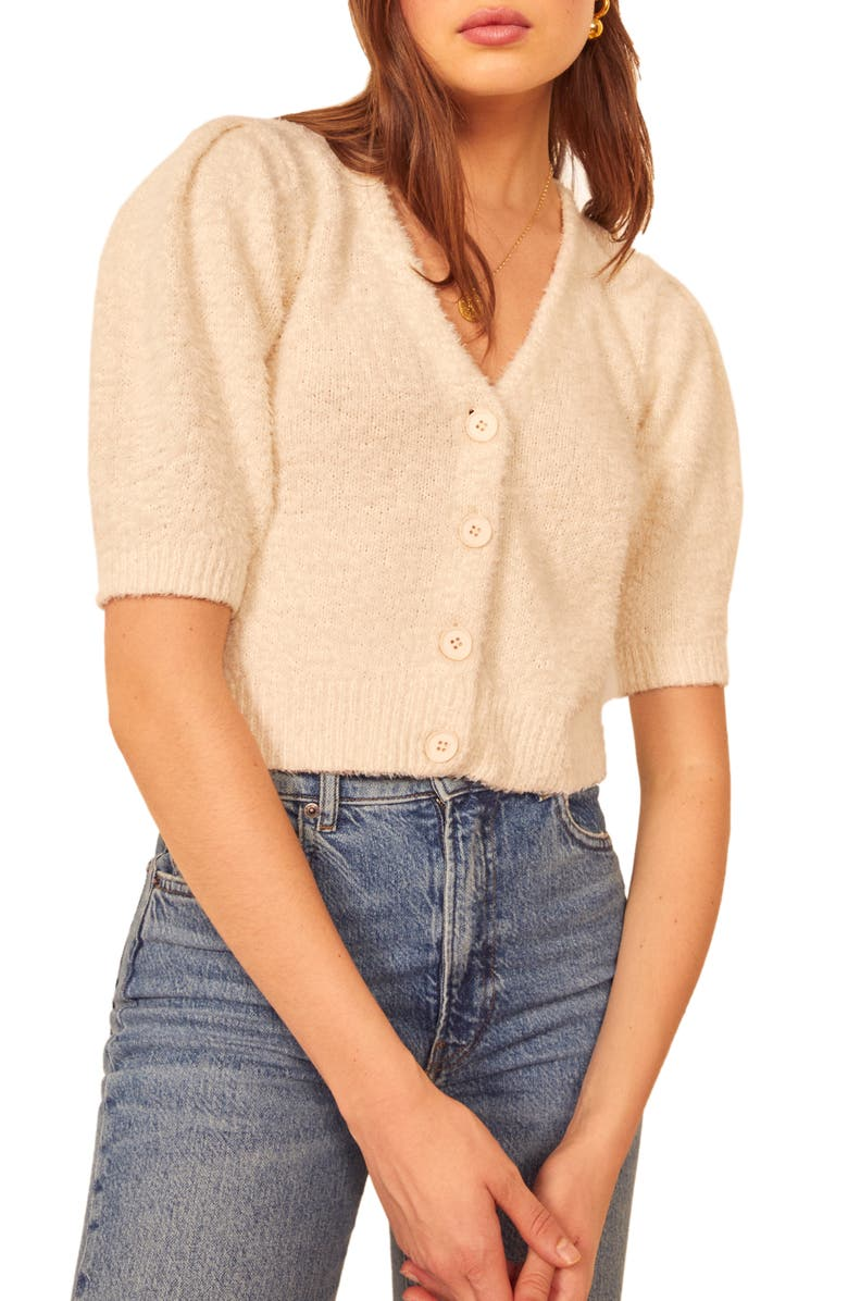 REFORMATION Hope Organic Cotton Cardigan, Main, color, IVORY