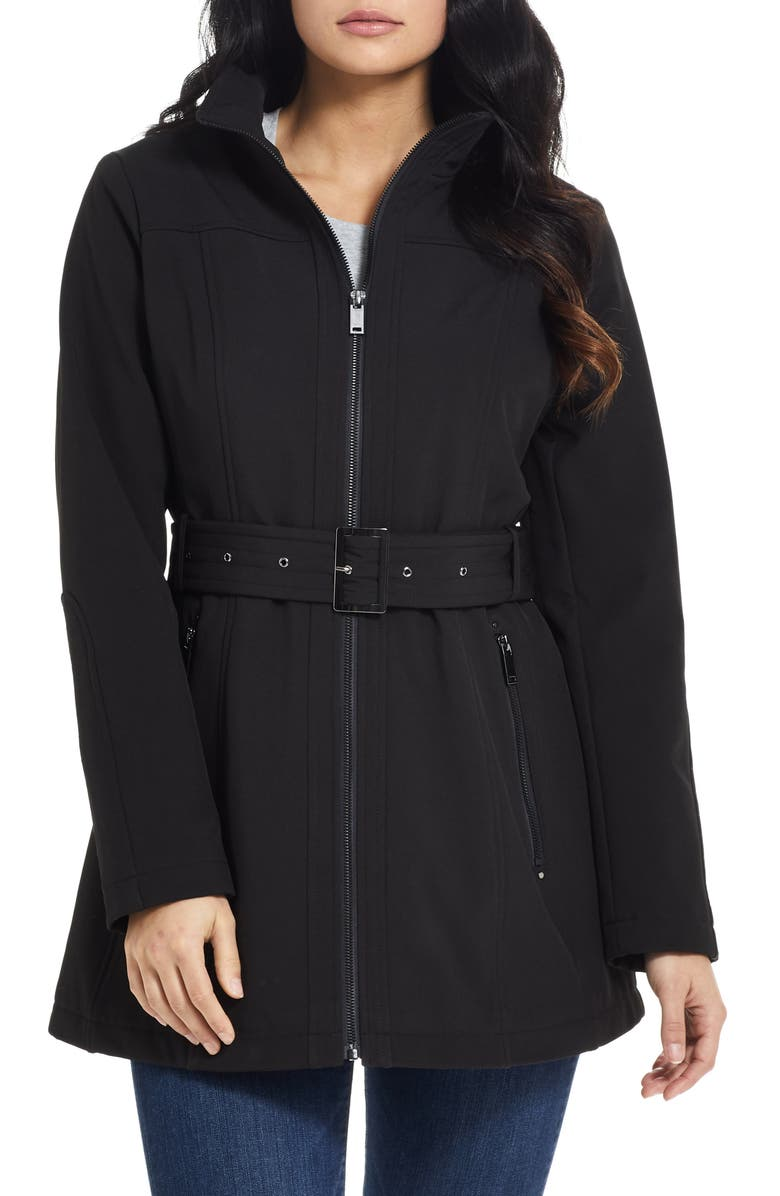 GALLERY Belted Soft-Shell Jacket, Main, color, 001