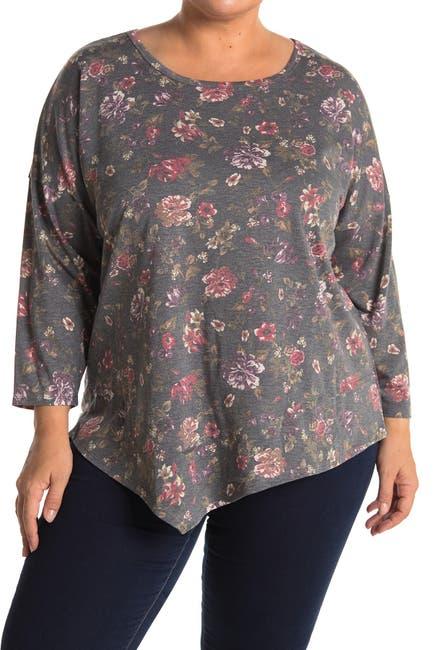 Image of Bobeau Asymmetrical Floral Print 3/4 Sleeve Top