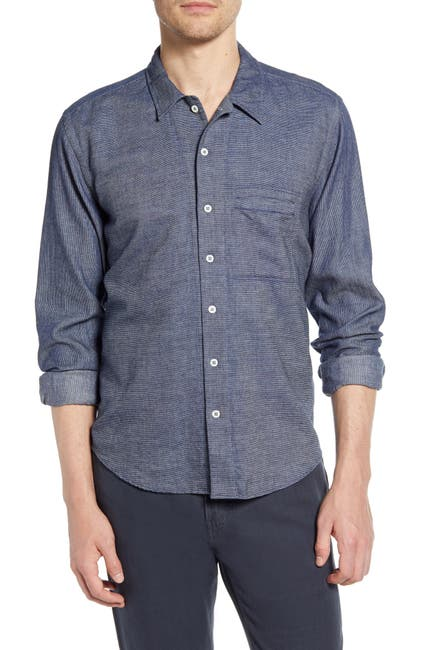 Image of Billy Reid Louis Stripe Regular Fit Utility Shirt
