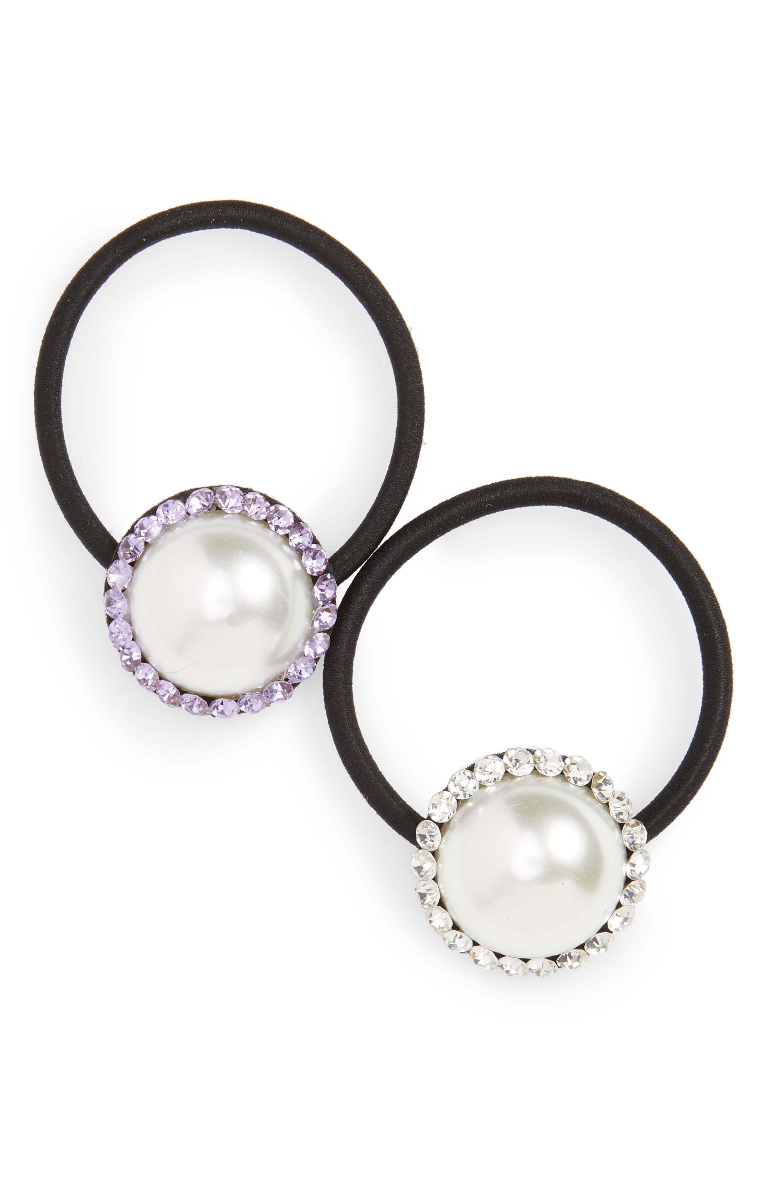 ,                             Set of 2 Imitation Pearl & Crystal Ponytail Holders,                             Main thumbnail 1, color,                             PURPLE/ CRYSTAL
