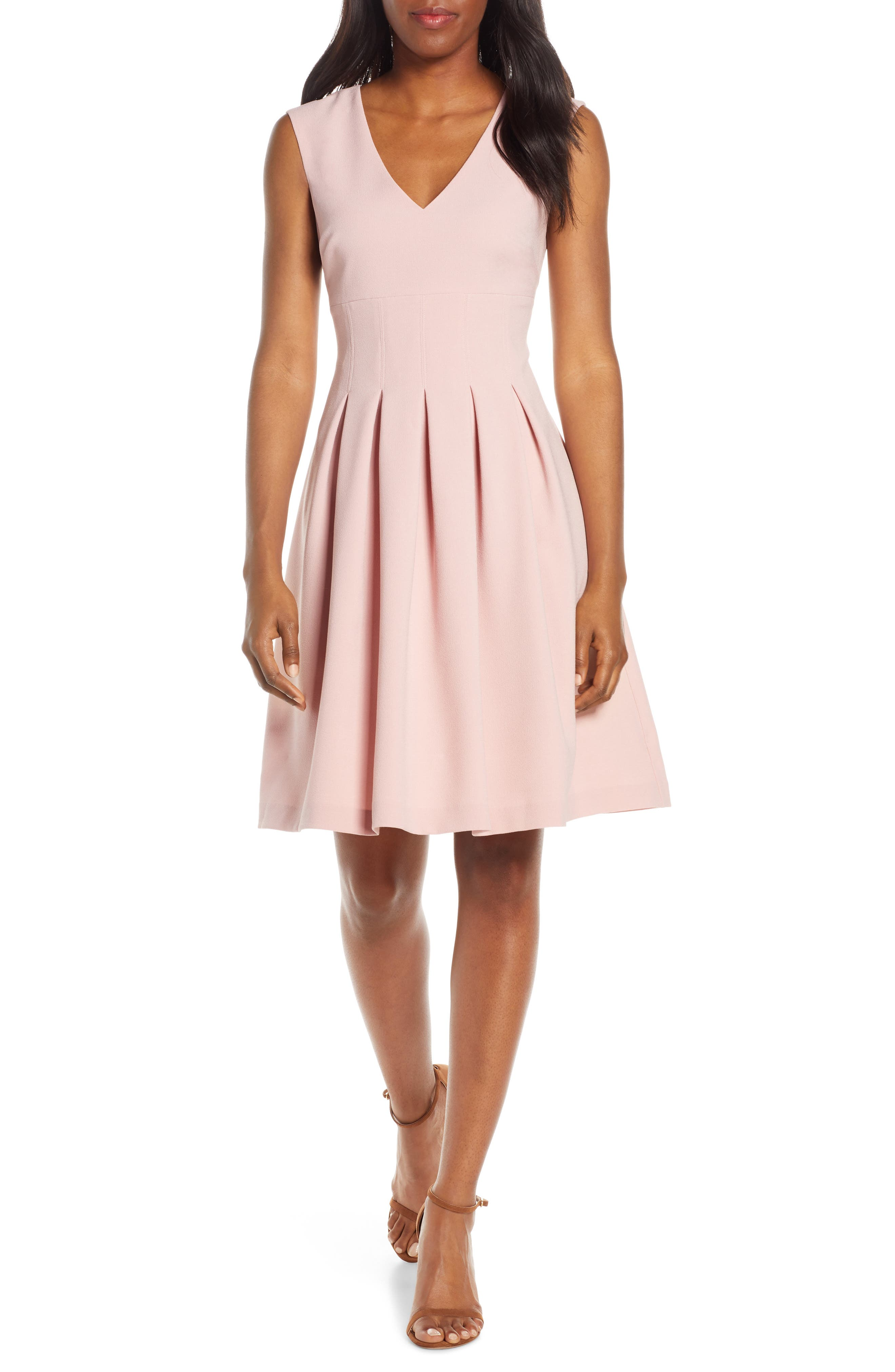 Harper Rose Sleeveless Crepe Fit & Flare Dress, Pink