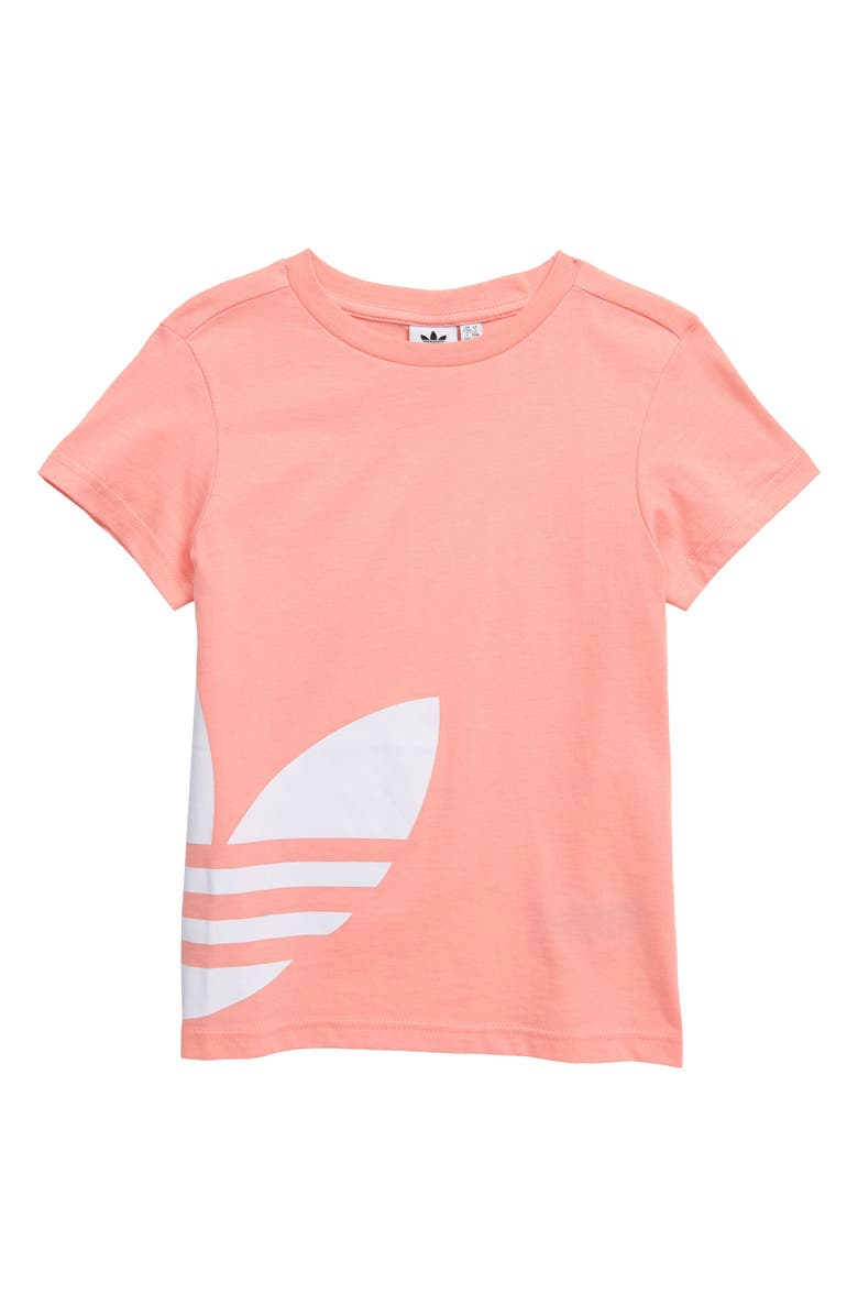 ADIDAS ORIGINALS Big Trefoil Logo Tee, Main, color, GLORY PINK/ WHITE