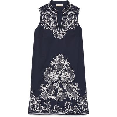 Tory Burch Embroidered Cotton Voile Cover-Up Tunic Dress, Blue