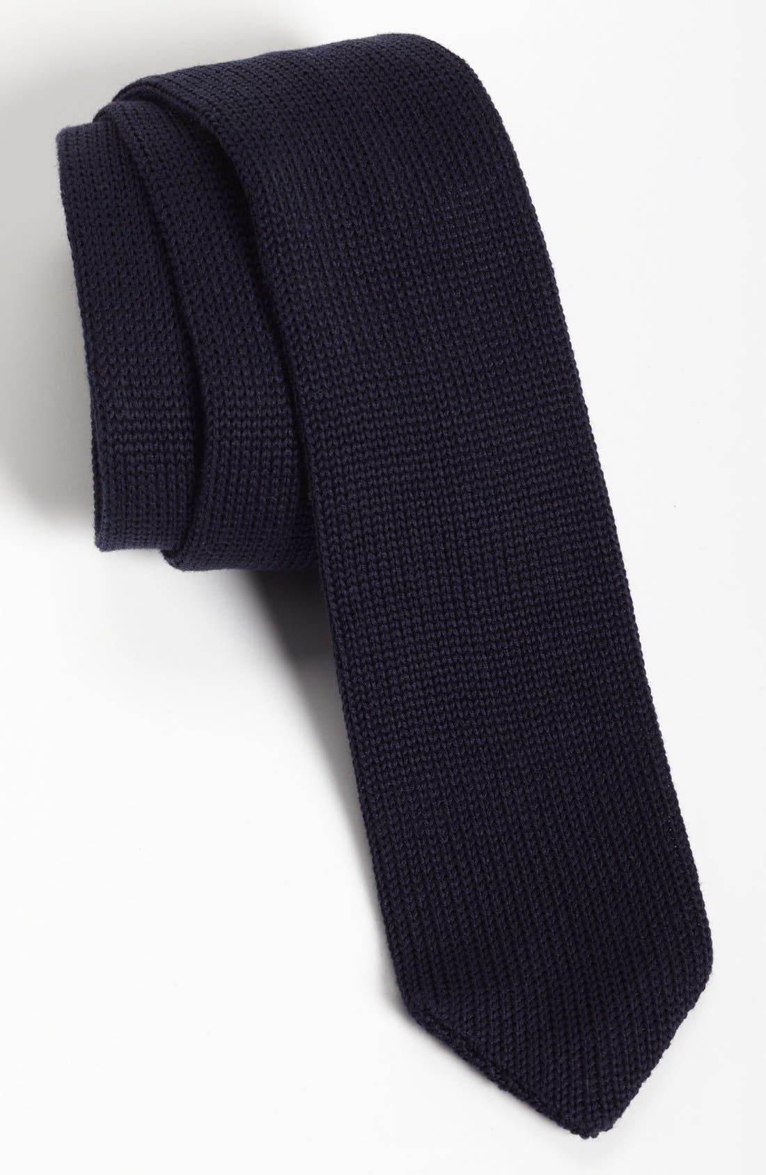 ,                             Black Knit Tie,                             Main thumbnail 8, color,                             402