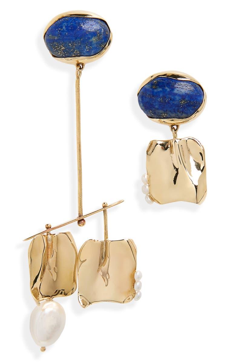 FARIS Badoula Mismatched Earrings, Main, color, BRONZE / LAPIS / PEARL