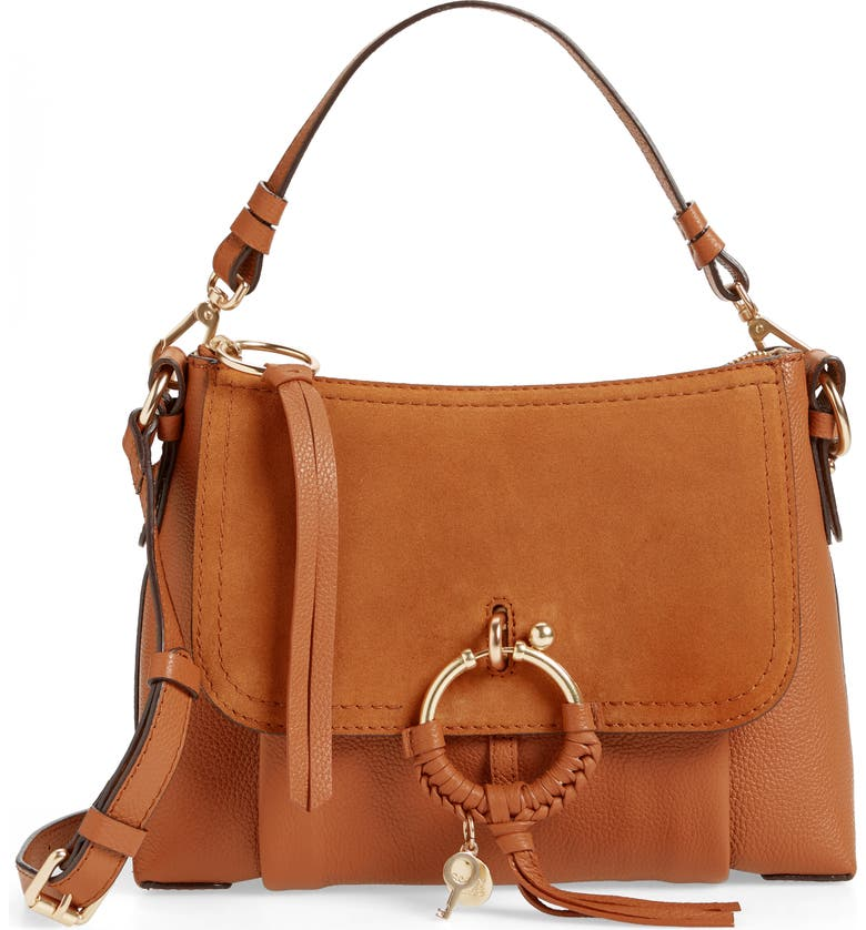 SEE BY CHLOÉ Small Joan Suede & Leather Crossbody Bag, Main, color, CARAMELLO