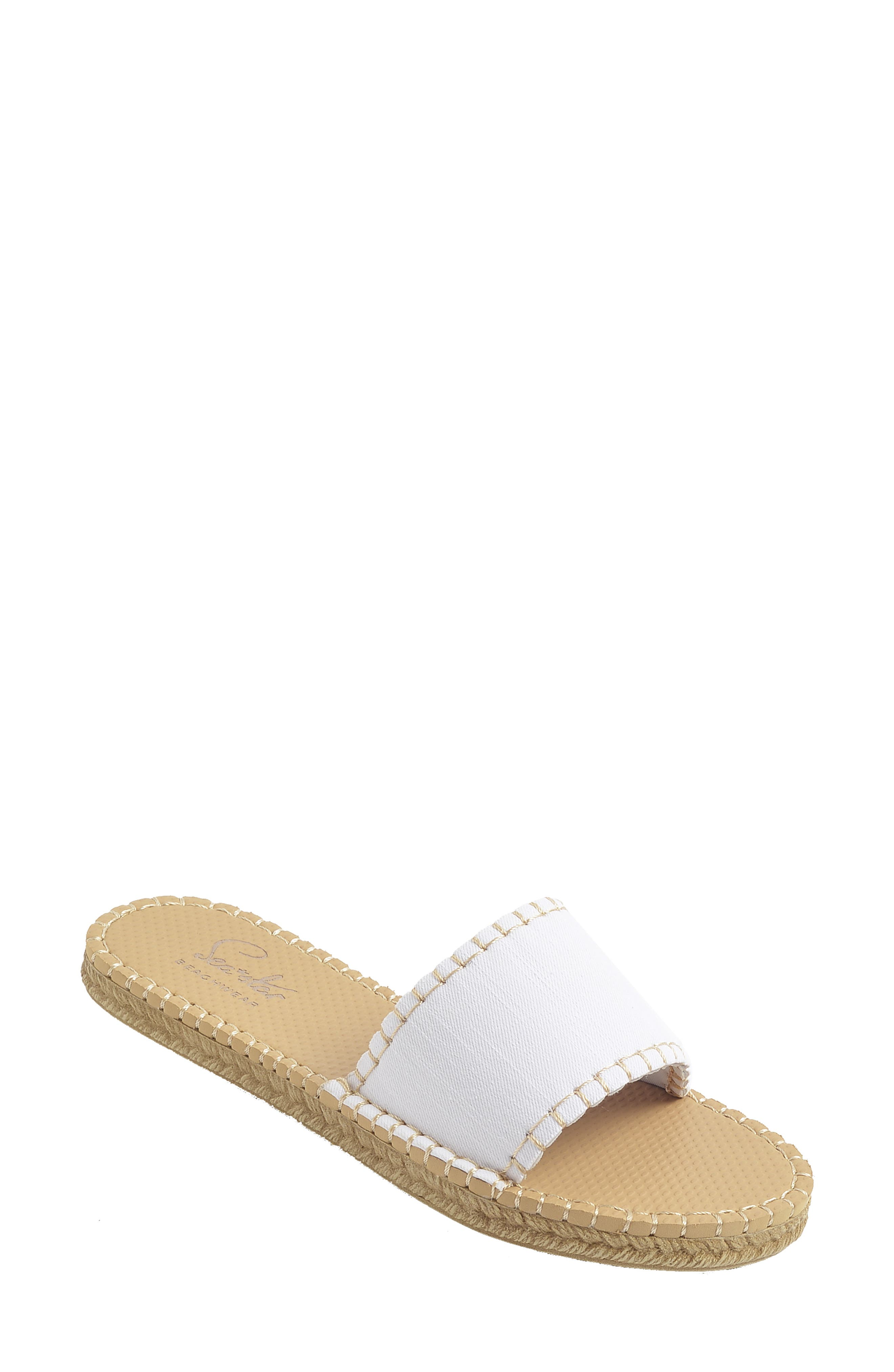 1960s Style Clothing & 60s Fashion Womens Sea Star Beachwear Cabana Water Resistant Espadrille Slide Sandal Size 8 M - White $44.95 AT vintagedancer.com