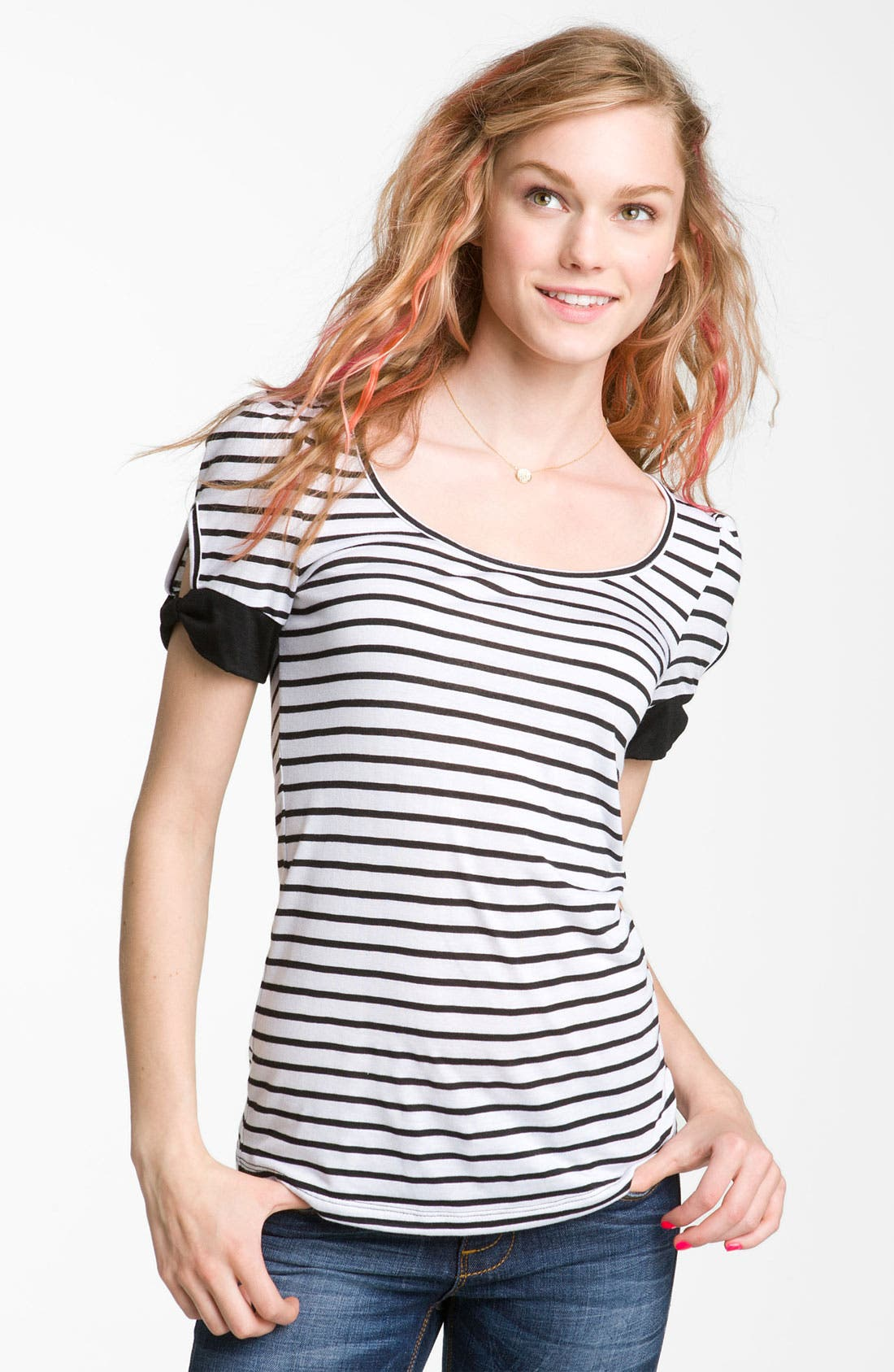 Cutout Sleeve Tee, Main, color, 100