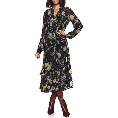 Reiss Sadie Romantic Floral Long Sleeve Midi Dress, US / 10 UK - Black