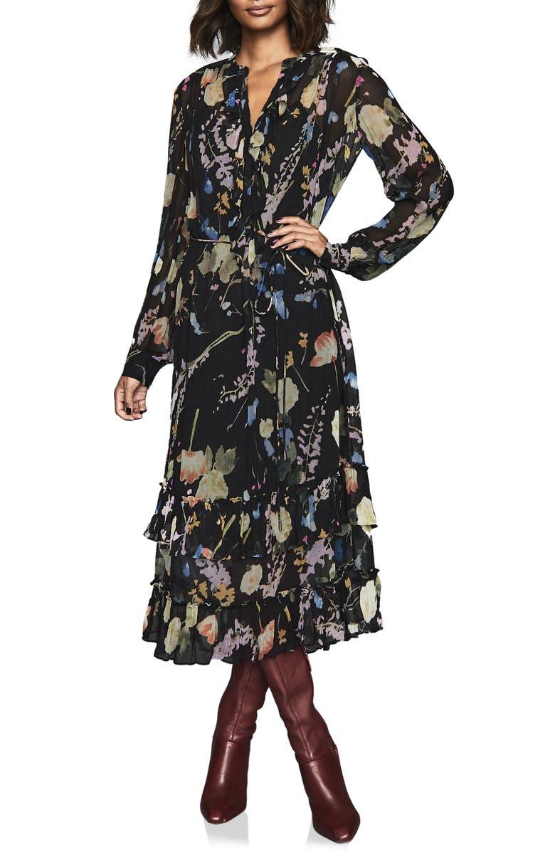 REISS Sadie Romantic Floral Long Sleeve Midi Dress, Main, color, BLACK