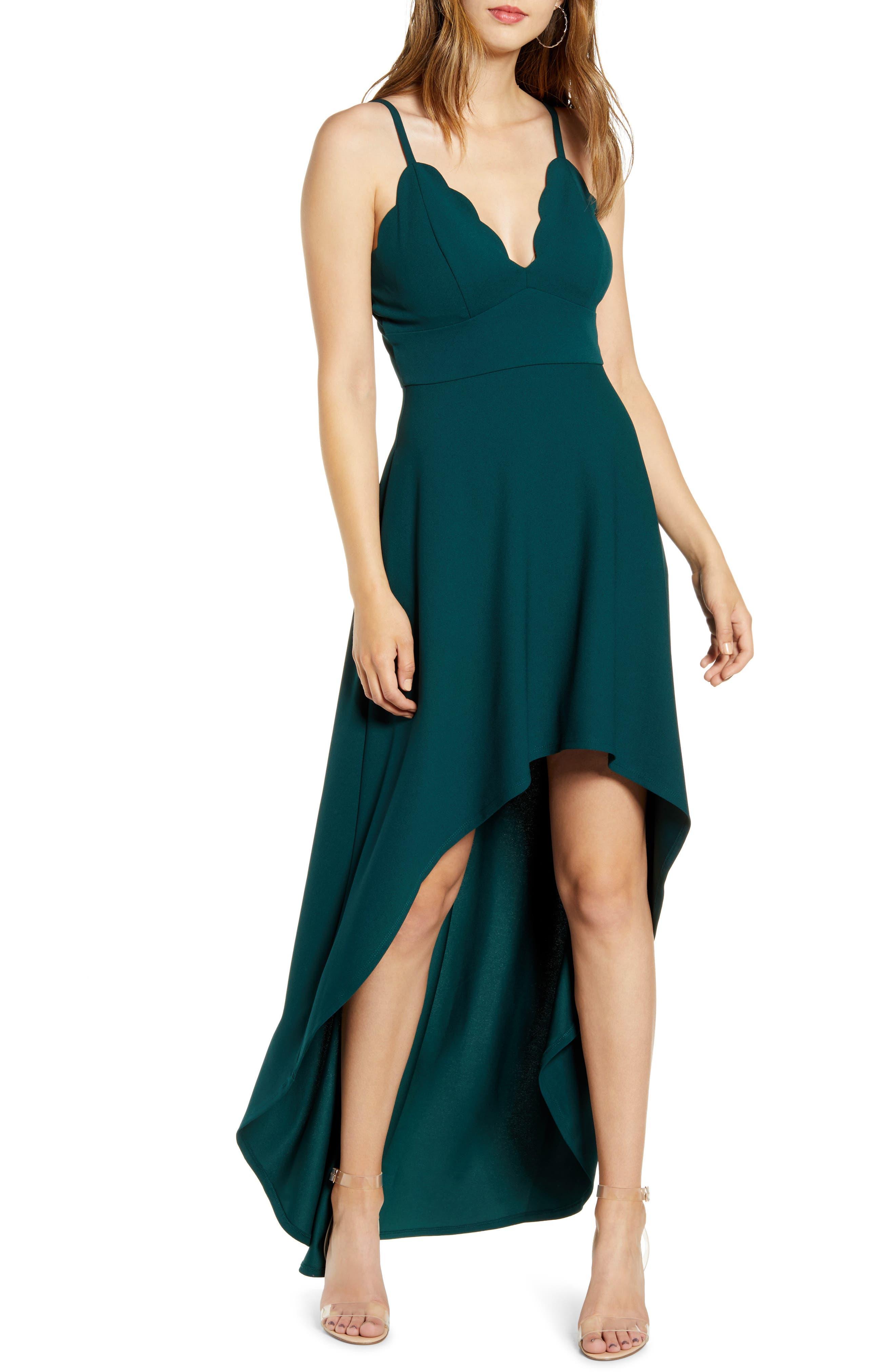 Speechless Scallop Plunge Neck High/low Dress, Green