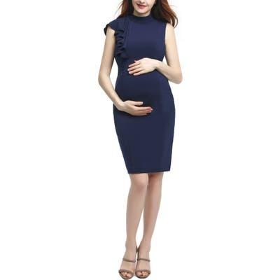 Kimi And Kai Josephine Ruffle Maternity Sheath Dress, Blue