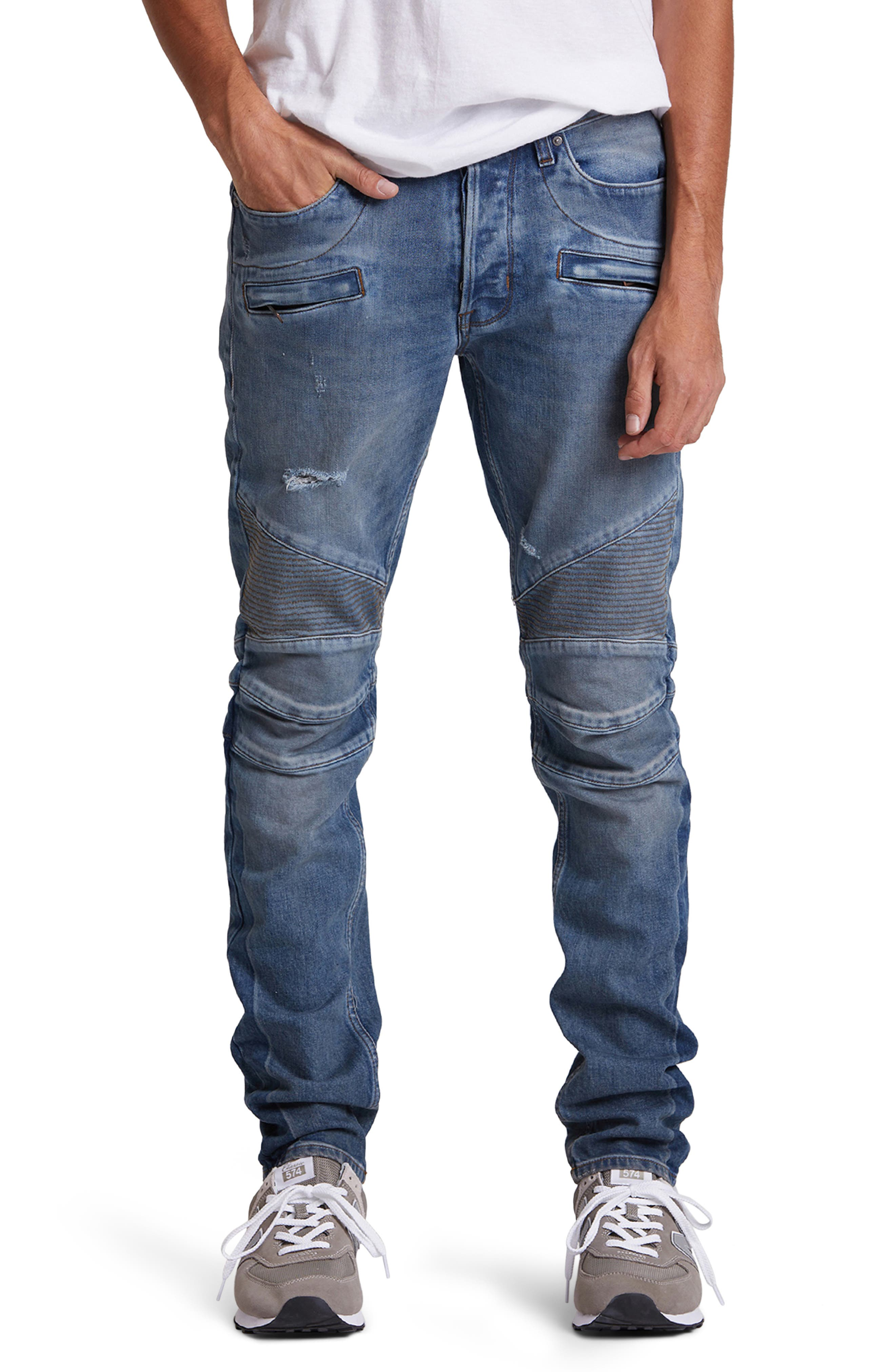 Nicks, shreds and heavy sanding rev up the moto attitude of panel-cut biker jeans sporting tough ribbing at the thighs and enough stretch to move. Style Name: Hudson Jeans Blinder Biker Ripped Skinny Fit Jeans (High Post). Style Number: 5929472. Available in stores.