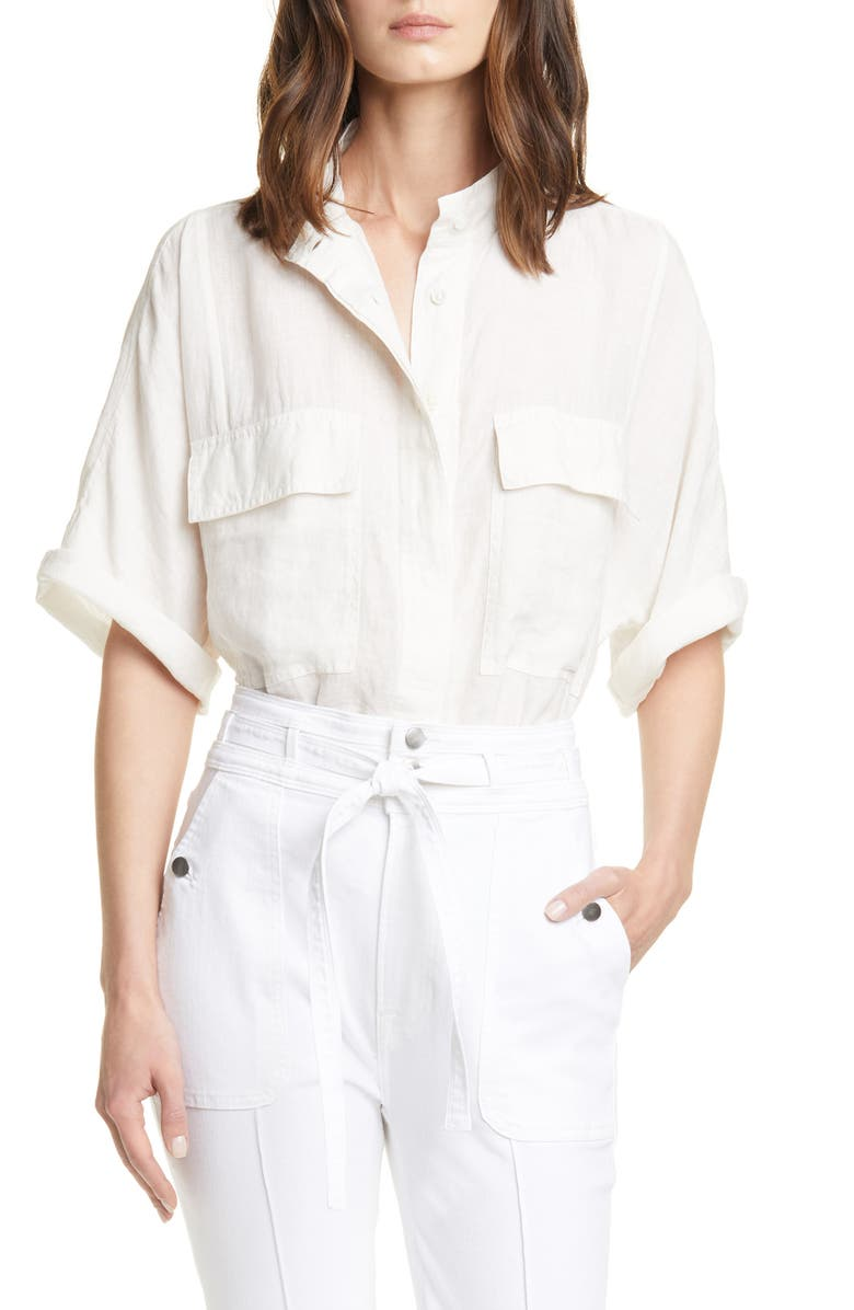 FRAME Safari Linen Shirt, Main, color, 120