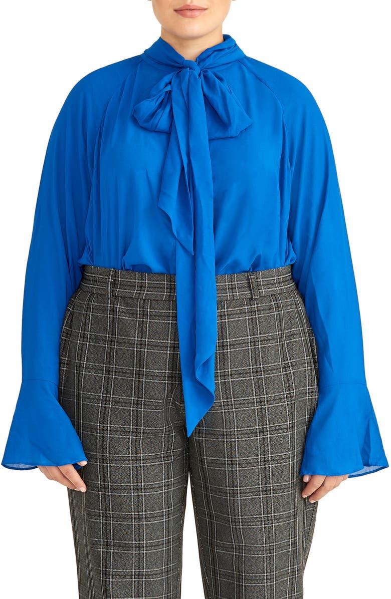 RACHEL ROY COLLECTION Ruffle Bow Blouse, Main, color, BLAZE BLUE