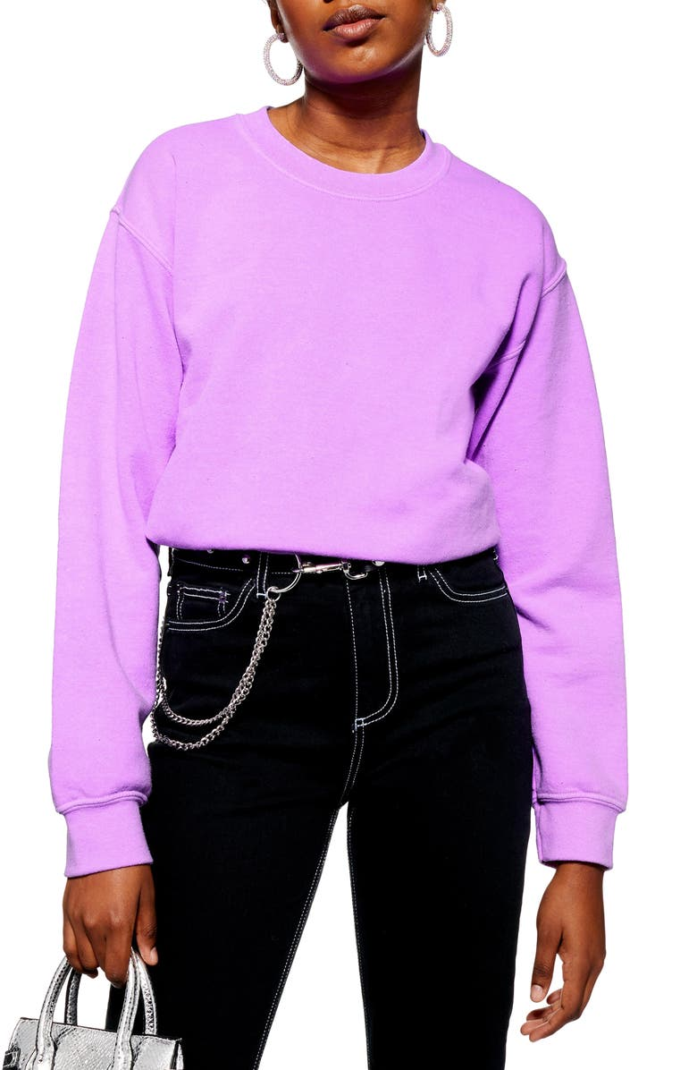 TOPSHOP Washed Neon Sweatshirt, Main, color, 500