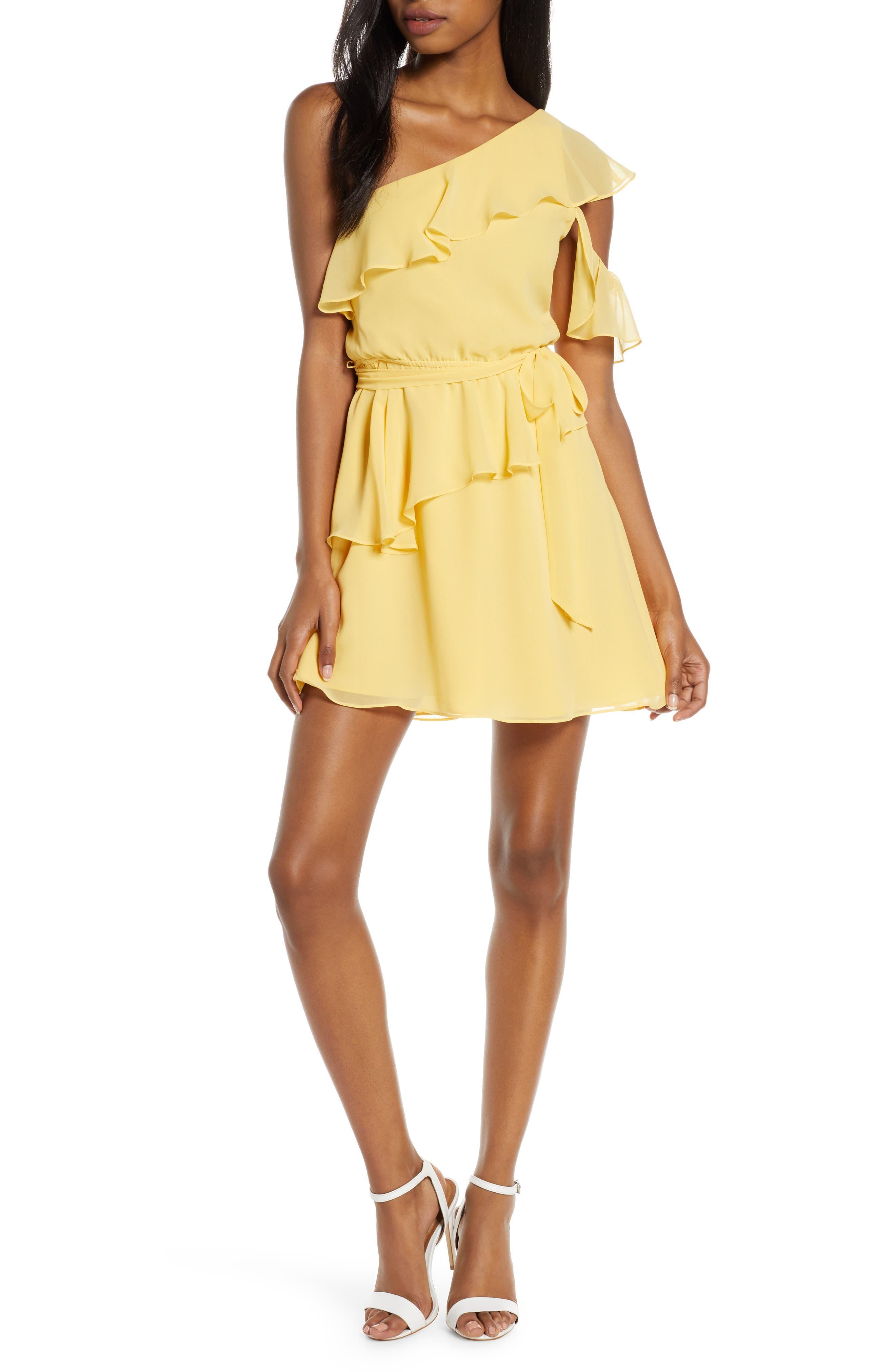 Ali & Jay Battle Of Flowers One-Shoulder Chiffon Minidress, Yellow