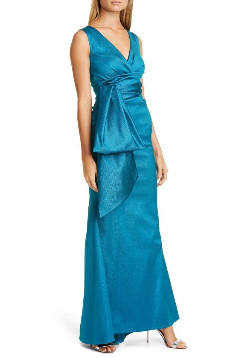 TALBOT RUNHOF Sorbet Crepe Satin Gown, Main, color, TURQUOISE