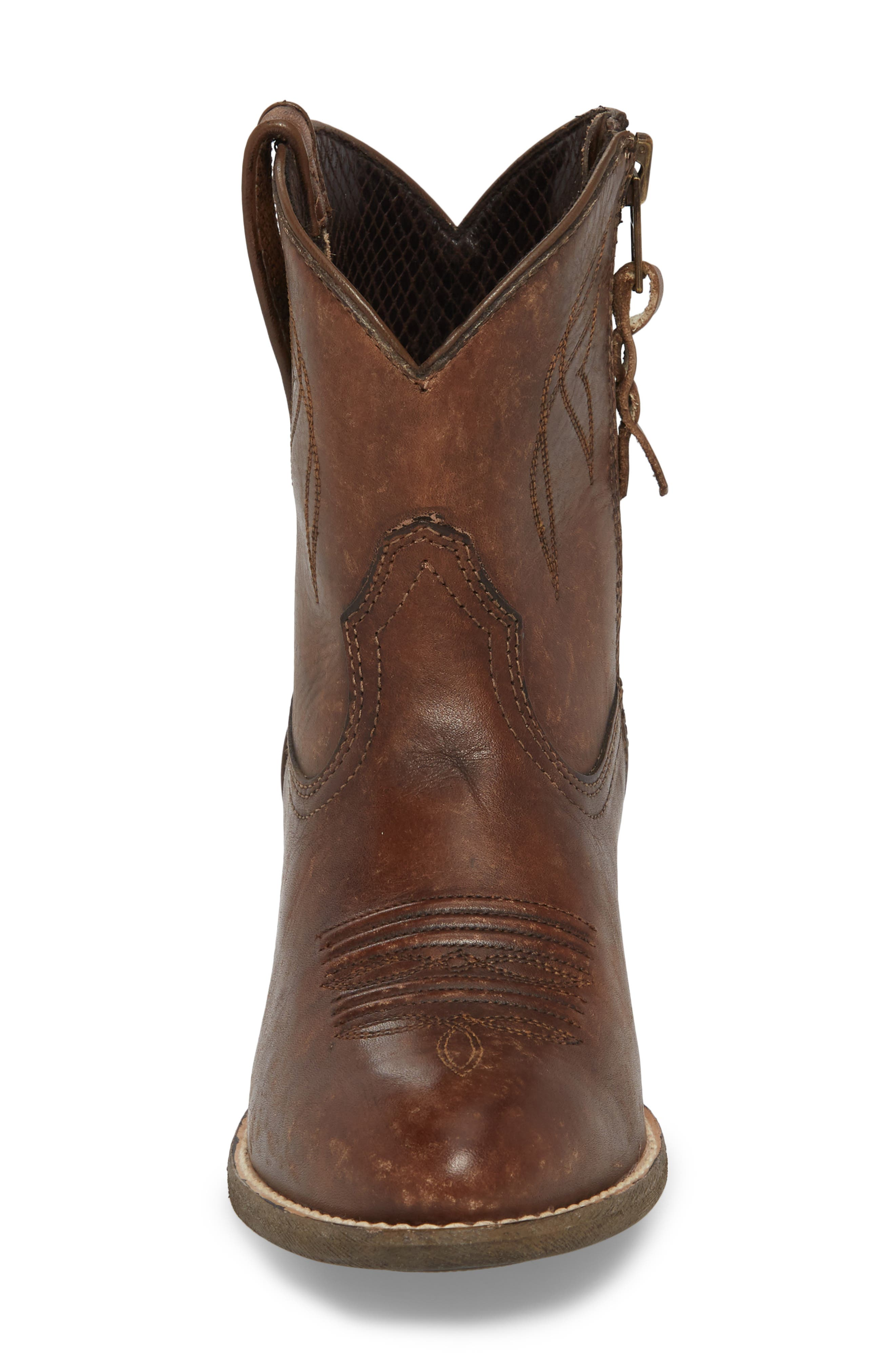 ,                             Darlin Short Western Boot,                             Alternate thumbnail 4, color,                             DISTRESSED BROWN LEATHER