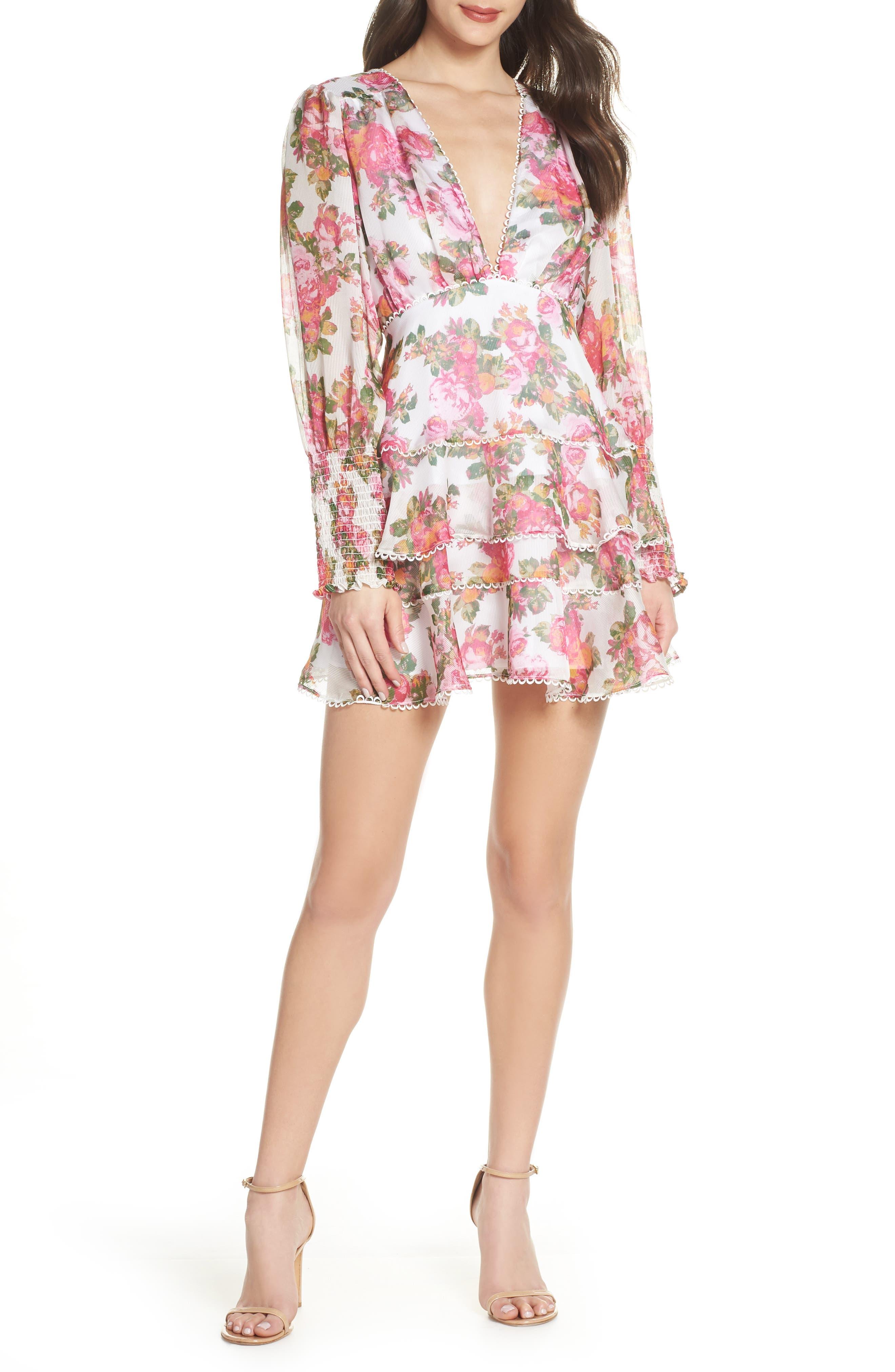 Oblivion Long Sleeve Minidress, Main, color, IVORY ROSE FLORAL