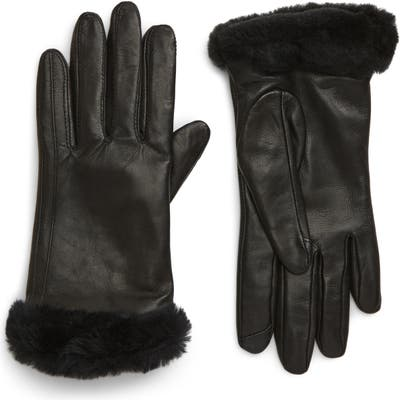 UGG Genuine Shearling Leather Tech Gloves, Black
