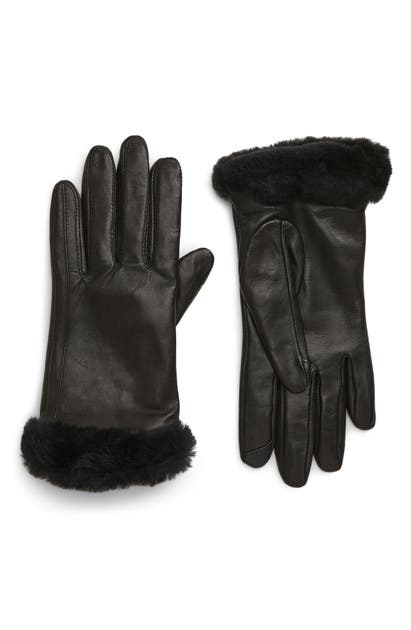 Ugg Touchscreen Compatible Leather Gloves With Genuine Shearling Trim In Black