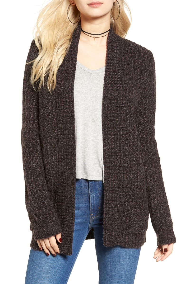 COTTON EMPORIUM Marled Knit Open Cardigan, Main, color, 001