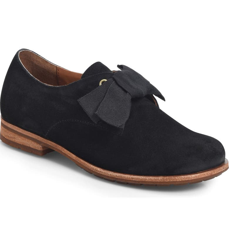 KORK-EASE<SUP>®</SUP> Beryl Bow Flat, Main, color, BLACK SUEDE