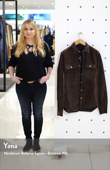 Giacca in Pelle Snap-Up Suede Shirt, sales video thumbnail