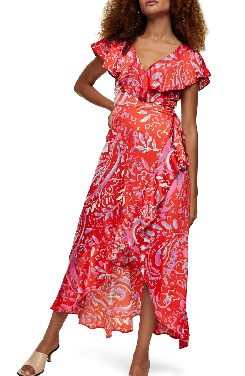 TOPSHOP Satin Ruffle Wrap High/Low Dress, Main, color, RED MULTI