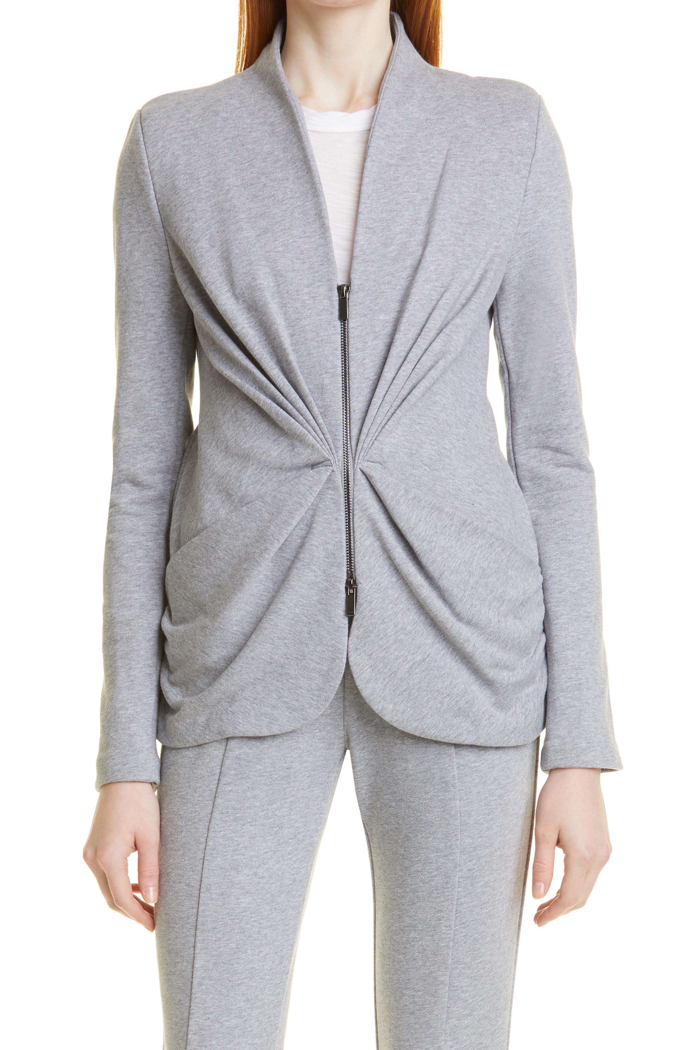 Starburst Zip Front Cotton Knit Jacket