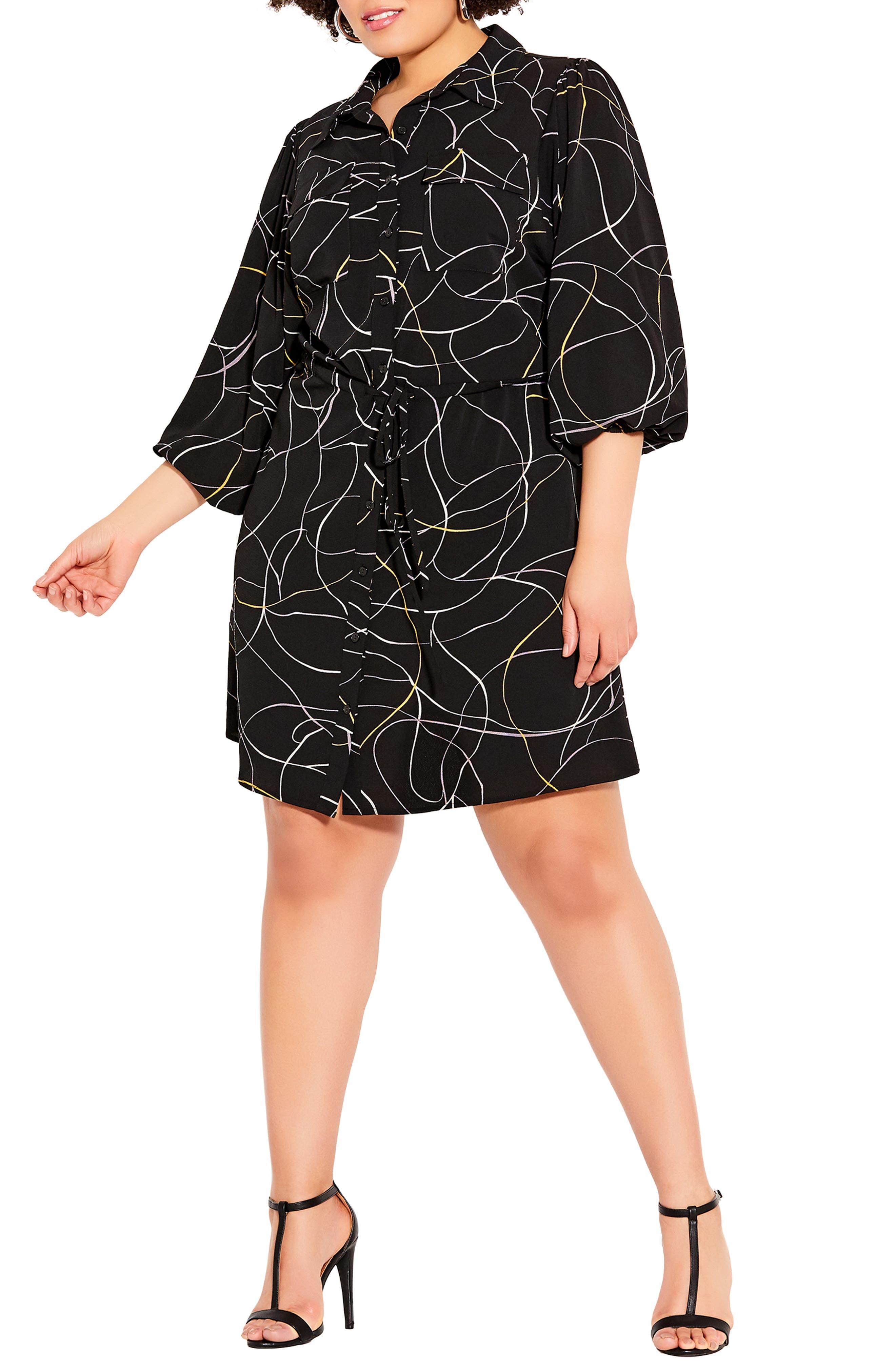 Abstract Shirt Dress