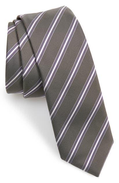 Hugo Boss Stripe Silk Tie In Purple