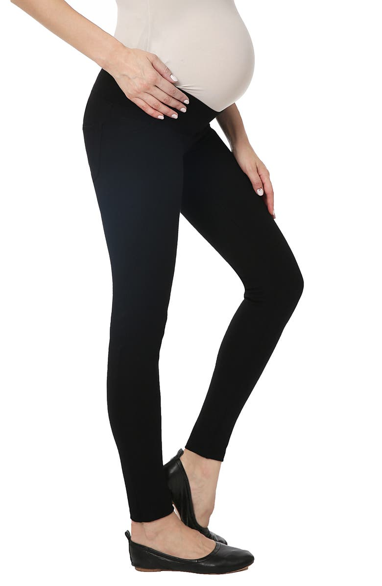 KIMI AND KAI Brandi Under the Belly Maternity Leggings, Main, color, BLACK