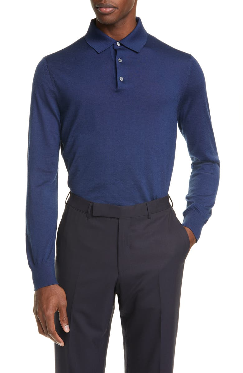 ERMENEGILDO ZEGNA Cashmere & Silk Long Sleeve Polo Shirt, Main, color, BLUE