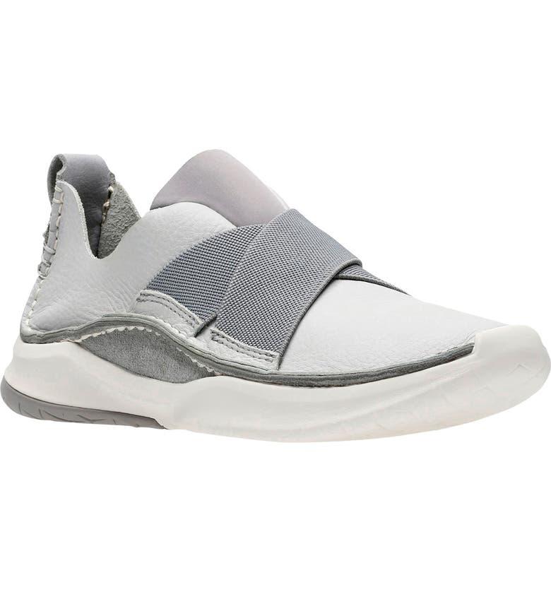 CLARKS<SUP>®</SUP> PrivolutionEx Slip-On Sneaker, Main, color, LIGHT GREY LEATHER