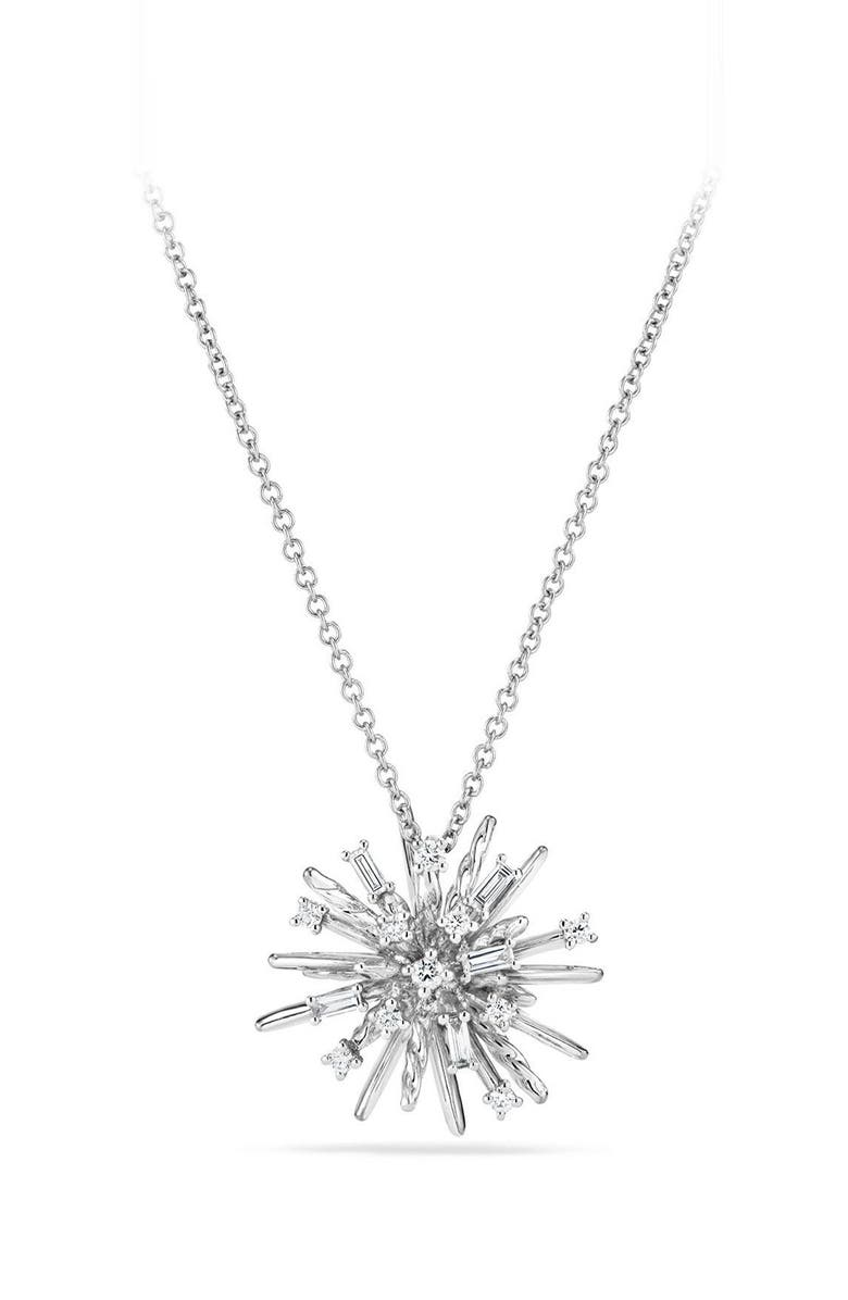 DAVID YURMAN Supernova Small Pendant Necklace with Diamonds in 18K White Gold, Main, color, WHITE GOLD/ DIAMOND